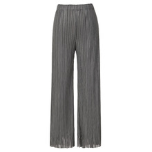 Pants Women Plus Size Stretch Miyake Pleats 2019 Spring Summer New Tassels Solid Color Casual Straight Trousers Female
