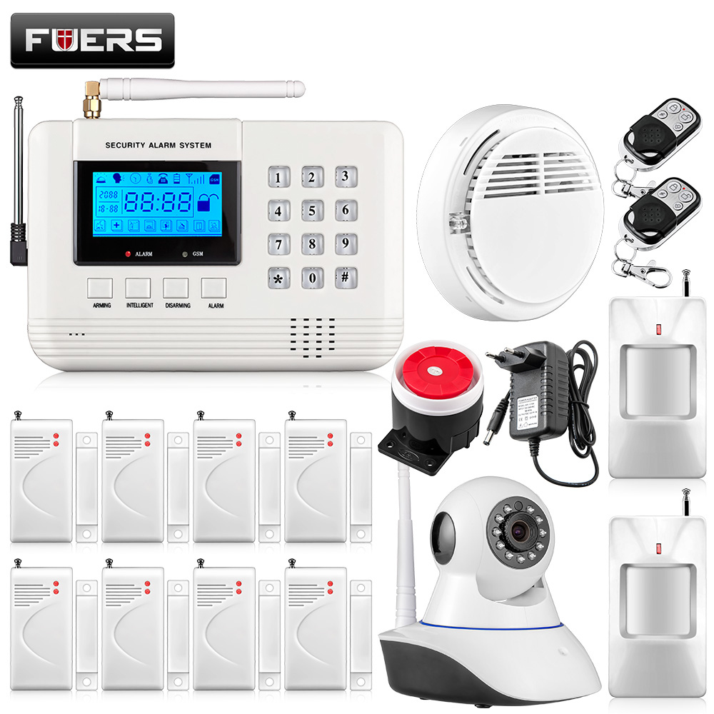 Wifi camera Metal Remote Control Voice Prompt Wireless door sensor Home Security GSM PSTN Alarm systems LCD Display Wired Siren