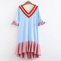 2019 Women Sexy Summer Blue Red stripe Dress Boho Style Cotton linen Tunic Loose Party Dress Vestidos Plus Size 5XL l Kawaii