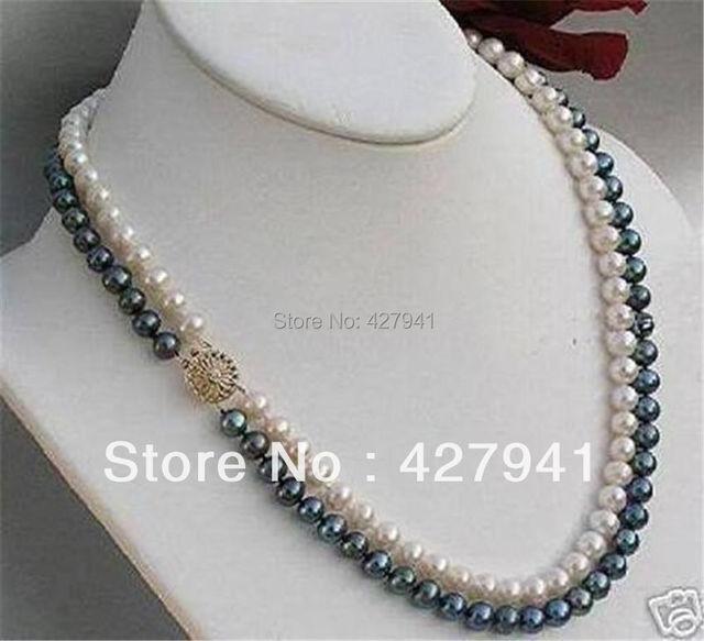 Pretty! 2 Rows 7 - 8 mm negro / blanco perlas cultivadas de Akoya 14KGP collar del corchete 18