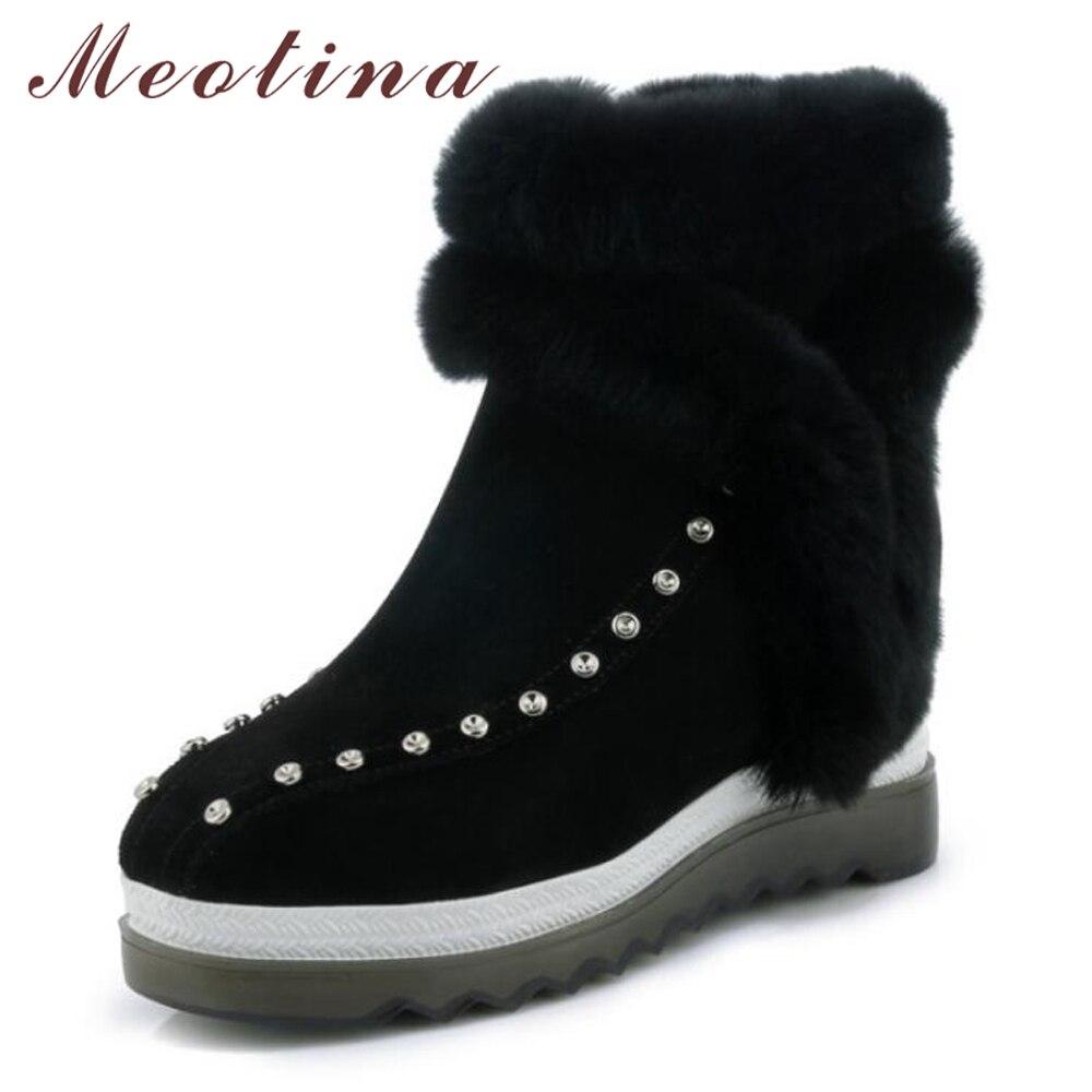 4ded16137dec9 Dames forme Cloutés Talon Chaussures Meotina Réel Bottes Chaud Wedge Lapin  De En Fourrure Cheville Plate Noir Véritable Neige Cuir vert Hiver xTqO4