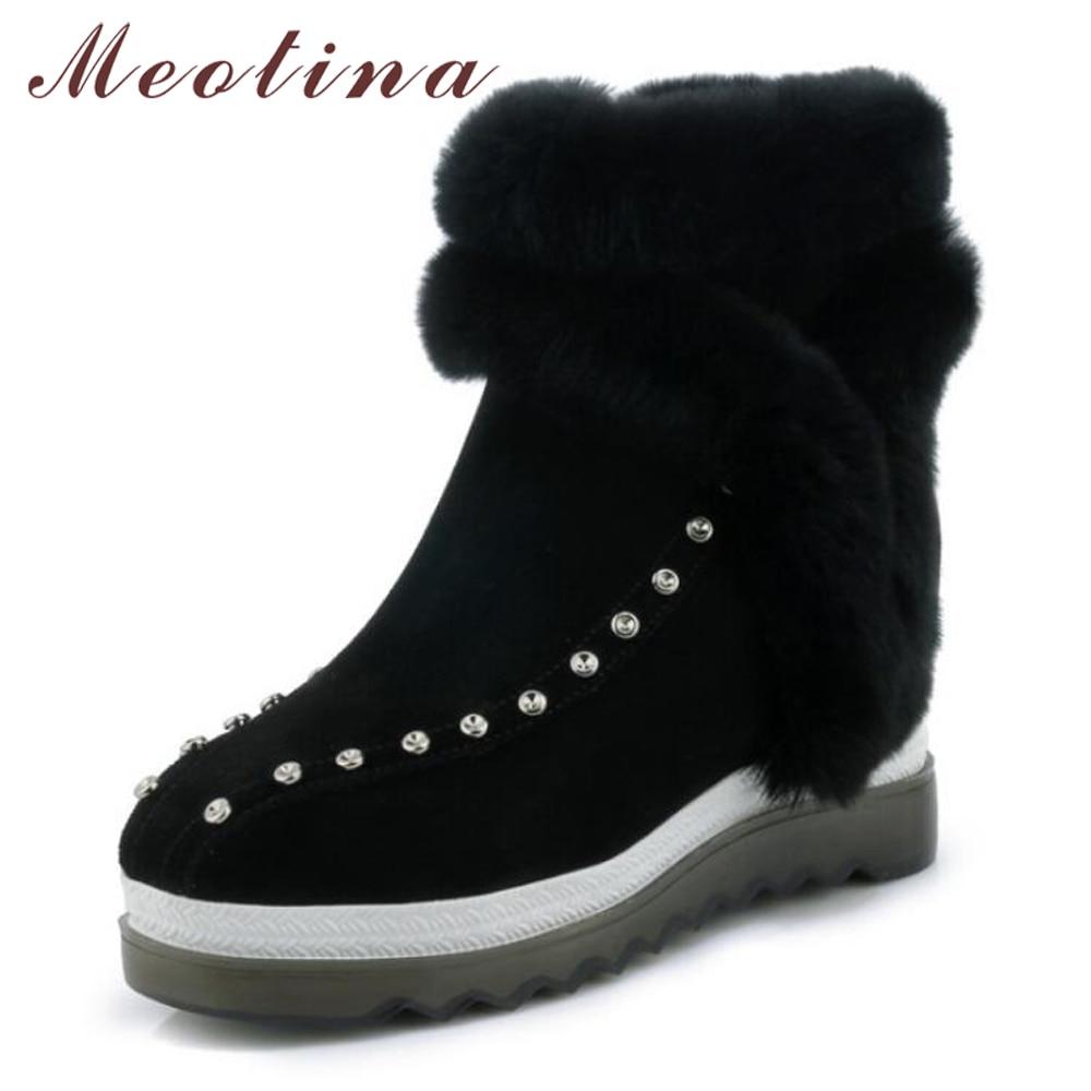 Negro Genuino Nieve Señoras Calientes Zapatos Del Piel Invierno Conejo Las Tacón Cuña De Plataforma Botas Meotina Real Cuero verde Tachonado Botines BxF5HqY