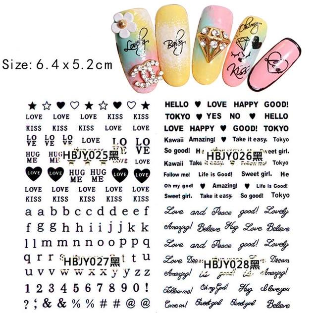 3D Black Self adhesive nail sticker Letter design Serie nail art ...