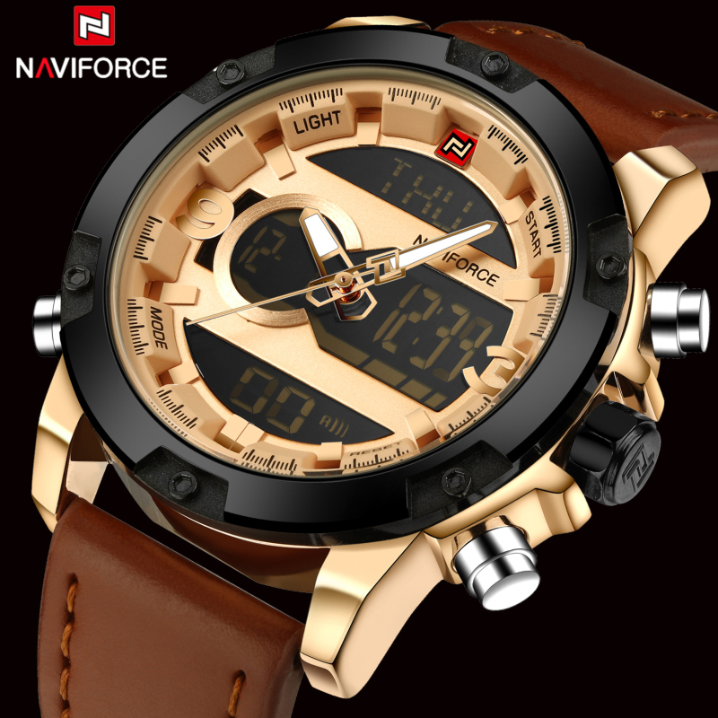 Topmerk Naviforce Mode Heren Leder Militair Horloge Heren Quartz Analoog Led Sport Waterdicht Polshorloge relogio masculino
