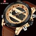 Top brand naviforce moda hombres reloj militar de los hombres de cuero de cuarzo analógico led digital deportivo reloj de pulsera relogio masculino + caja