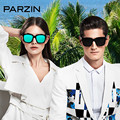 Parzin óculos Polarizados Óculos De Sol Das Mulheres Dos Homens Do Vintage Masculino Óculos de Sol de Grandes Dimensões Senhoras Shades Óculos de Condução Preto Com Caso 9650