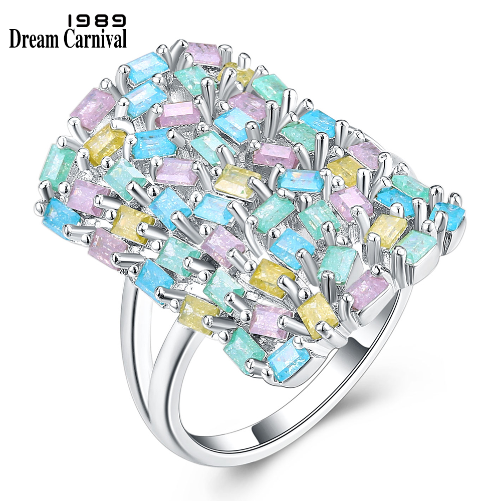 DreamCarnival 1989 Big Rectangle Shape Geometry Random Mix Colorful Glitter Zircon Jewelry Design Rings for Women Bague SJ27230