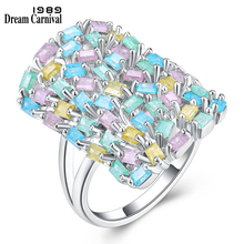 DreamCarnival 1989 Big Rectangle Shape Geometry Random Mix Colorful Glitter Zircon Jewelry Design Rings for Women Bague SJ27230