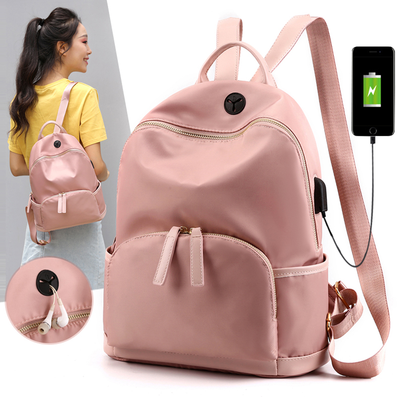 Fashion Women Waterproof Nylon Backpack For Girls Usb Charging School Bags Backpack For Teengers Female Travel Mochila Feminina