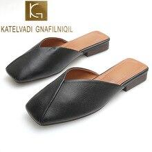 KATELVADI Party Chic Women Mules Slipper Square Toe Block Heels Shoes Sandals 2019 Black Beige Korean Pumps K-414