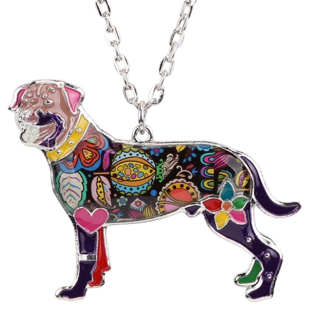 Bonsny Declarație Maxi Alamă smalt Rottweiler colier colier - Bijuterii de moda - Fotografie 5