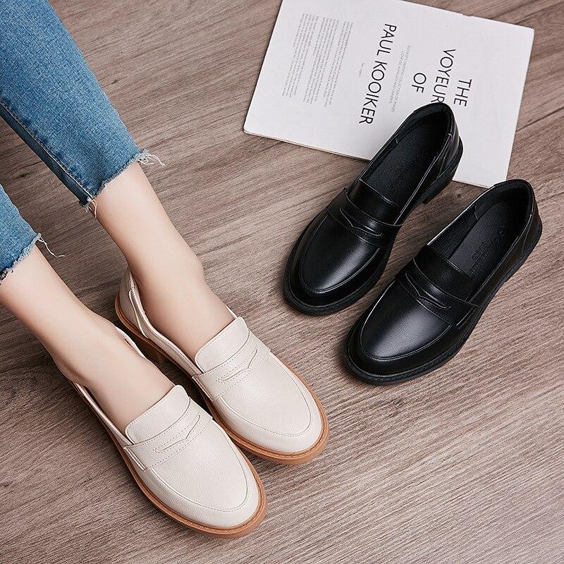 €18.75 28% СКИДКА|Кожаные туфли в европейском и английском стиле; женские зимние мягкие туфли оксфорды с пряжкой на не сужающемся книзу массивном каблуке; espadrilles; Плюшевые туфли на толстой мягкой подошве; лоферы на плоской подошве|Обувь без каблука| |  - AliExpress