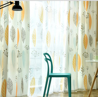 Simple Modern Curtains For Iving Room Bedroom Nordic Plant Cotton Personality Study American Finished Curtains Leaves