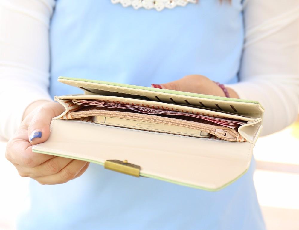 moda longo carteira de couro Color : Blue, light Blue, coffee, green, pink, purple