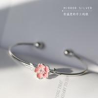 New Fahion Pink Sakura 925 Sterling Sterling Silver Bangle Female Hand Jewelry Pink Flower Adjustable Bracelet