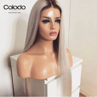 COLODO Ombre Lace Front Wig Pre Plucked Natural Hairline Brazilian Remy Straight Ice Blonde Human Hair Wig 130% Density Red Wig