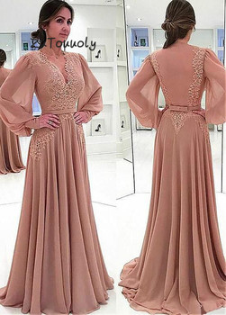 Modern Long Sleeves Evening Dresses V Neck Coffee Prom Dress Outfits Sheer Back Floor Length Chiffon Turkey Evening Gowns 2019