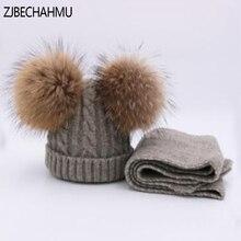 ZJBECHAHMU Real Fox Fur Mink Pompoms 15cm Skullies Beanies Hats Children Girl Winter Wool Warm Scarf 2019 New Snapback
