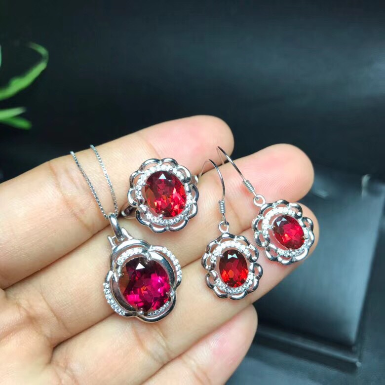 KJJEAXCMY boutique jewels 925 sterling silver inlaid with natural red topaz pendant ring 3 sets three-dimensional hollow outKJJEAXCMY boutique jewels 925 sterling silver inlaid with natural red topaz pendant ring 3 sets three-dimensional hollow out