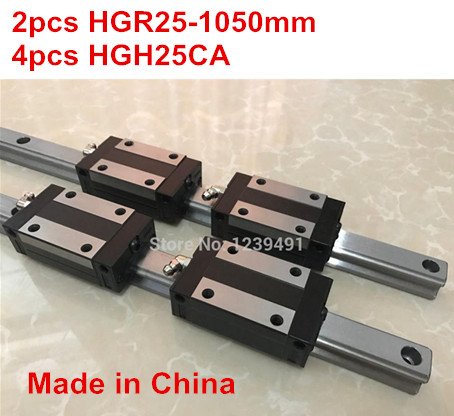 HG linear guide 2pcs HGR25 - 1050mm + 4pcs HGH25CA linear block carriage CNC parts free shipping to argentina 2 pcs hgr25 3000mm and hgw25c 4pcs hiwin from taiwan linear guide rail