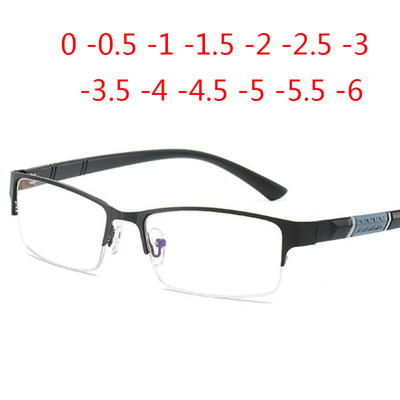 Half Metal Frame Blue Film Ultra-light Nearsighted Glasses Resin Nearsight Unisex Shortsighted Myopia 0 -0.5 -1 -1.5 -2 -3 To -6