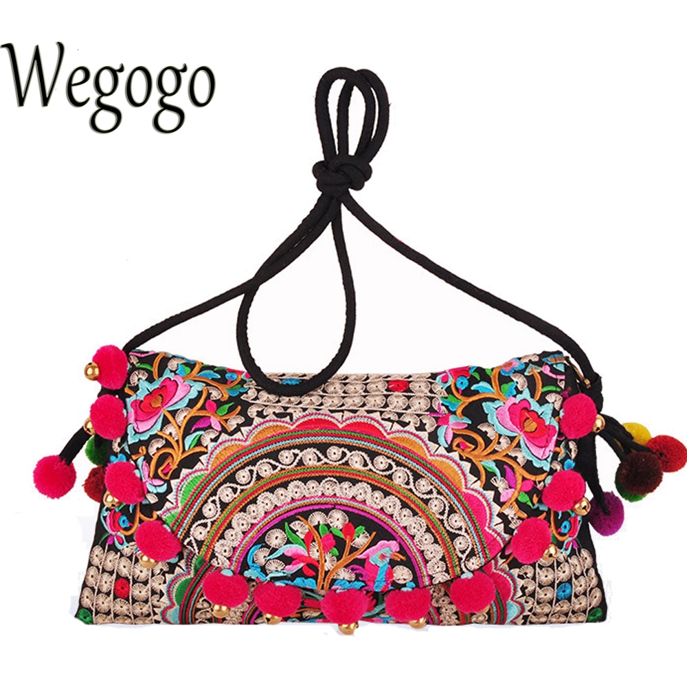Wegogo Women Handbag National Embroidered Handmade Ethnic Pompon Balls Shoulder Messenger Small Clutch Cover Bolsa Feminina aetoo spring and summer new leather handmade handmade first layer of planted tanned leather retro bag backpack bag