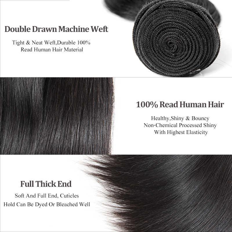 Ali queen волосы перуанские девственные прямые волосы 3 пучка с закрытием бесплатная часть предварительно сорванные человеческие волосы кружева закрытие натуральный цвет