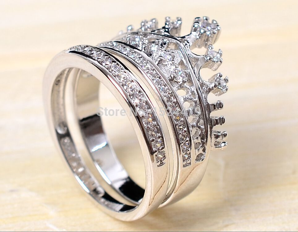 0a65b3b94099 Free Shipping Size5-11 Coronet Lady Engagement Ring set Queen Crown Zircon  925 sterling silver Filled Women s Wedding