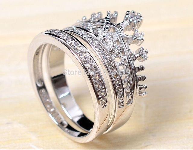 Free Shipping Size5 11 Coronet Lady Engagement Ring Set Queen Crown Zircon 925 Sterling Silver