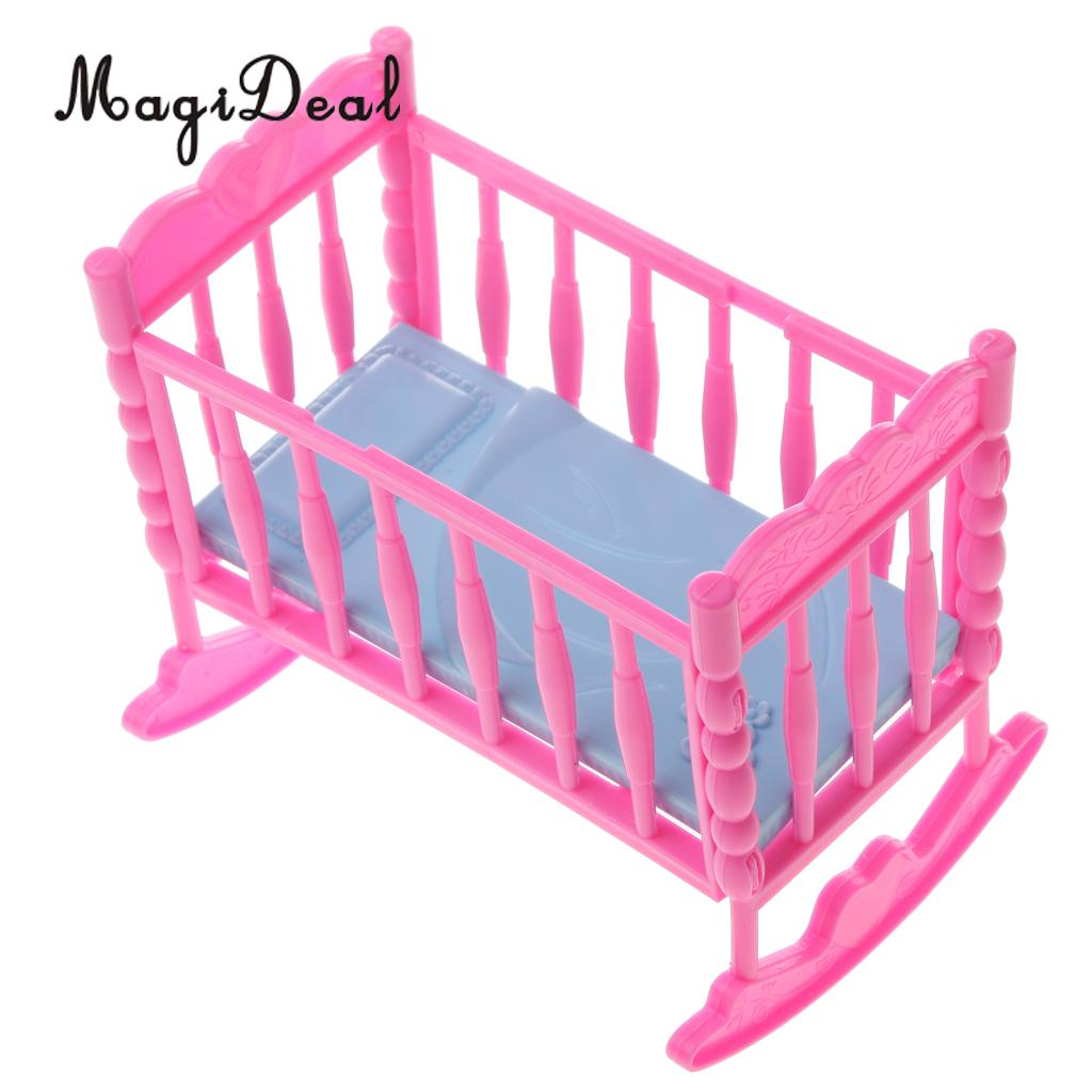 MagiDeal Lovely 1Pc Pink Baby Rocking Bed Bedroom Furniture Home Acce For Dolls Doll House Dec Children Pretend Game Toy