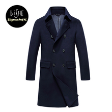 Cashmere Men Coat Long Overcoats Silm Fit Double Breasted Men's Wool Winter Coats Casual Male Clothing Manteau Laine Homme(China)