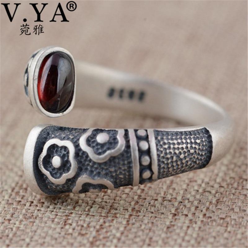 Image 5 - V.YA Retro Red Garnet Rings 925 Sterling Silver Ring for Women Female Natural Semi precious Stone Jewelry Birthday GiftRings   -