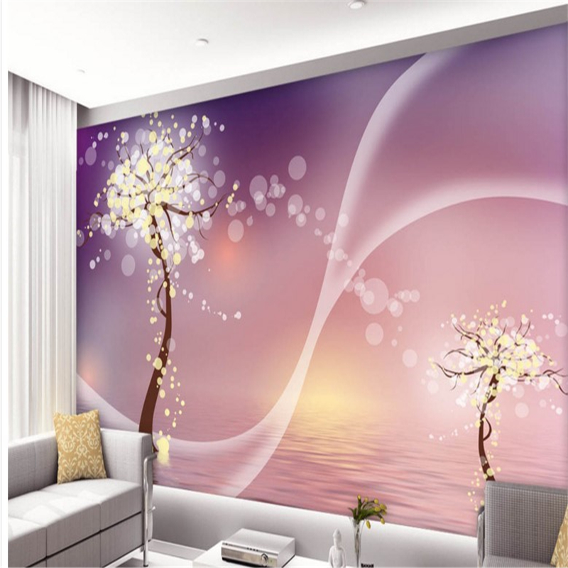 beibehang Personalized custom wallpaper purple aesthetic dream tree ...