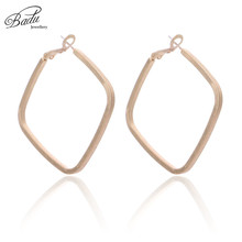 Badu Geometric Rhombus Hoop Earring Oversize Hollowing Metallic Hoops Punk Earrings for Women Rock Party Jewelry Wholesale недорого