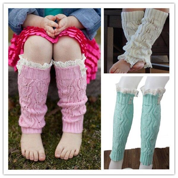 Niños moda niñas tejer Calentadores para piernas ganchillo Encaje ...