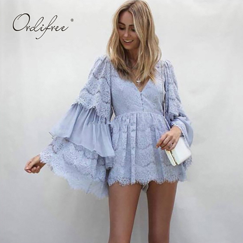 Ordifree 2018 Summer Women White Lace Playsuit Jumpsuit Rompers Long Sleeve V Neck Sexy Chiffon Playsuit ...
