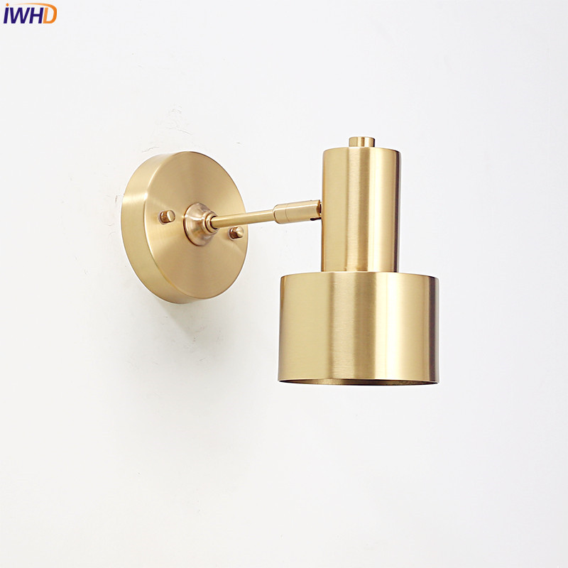 IWHD Modern Nordic LED Wall Lights Fixtures Brass Copper Living Room Bathroom Light Mirror Vintage Wall Sconce Beside Lamp modern led bathroom light stainless steel led mirror lamp dresser cabinet waterproof sconce indoor home wall lighting fixtures