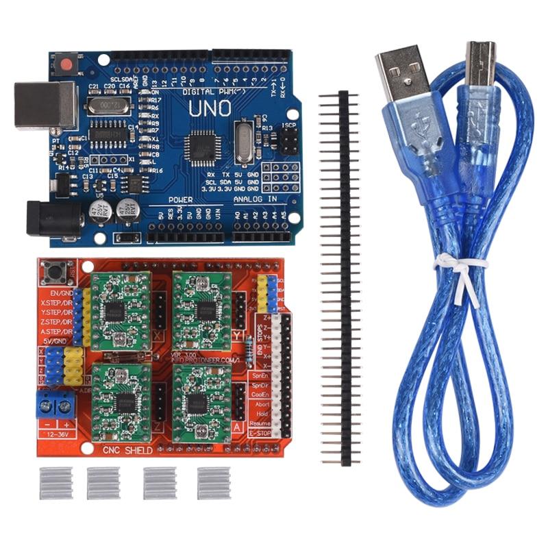 CNC Tarjeta de Expansión Shield V3.0 + Junta con usb para Arduino UNO R3 + 4 unids Conductor Del Motor de Pasos A4988 con Disipador de Calor escudo CNC kits