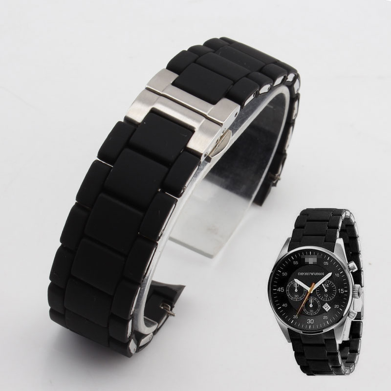 Rubber watchband Stainless steel in Black silica gel for armani AR5858 male 23mm AR5868 female 20mm watch strap watches band liaopijiang bao gangshi used ar5890 ar5905 ar5906 stainless steel strip rubber fashion 20 23mm