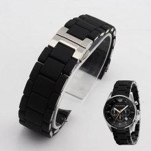Caoutchouc bracelet en acier inoxydable en noir gel de silice pour armani ar5858 mâle 23mm ar5868 femelle 20mm montre bracelet montres bande