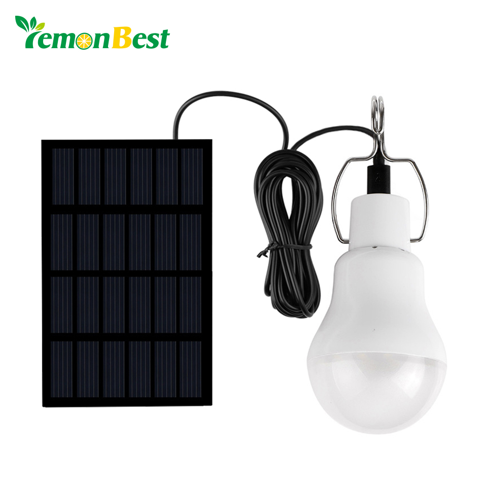 Lemonbest solar panel led bulb led solar lamp solar power for Lampe exterieur led design