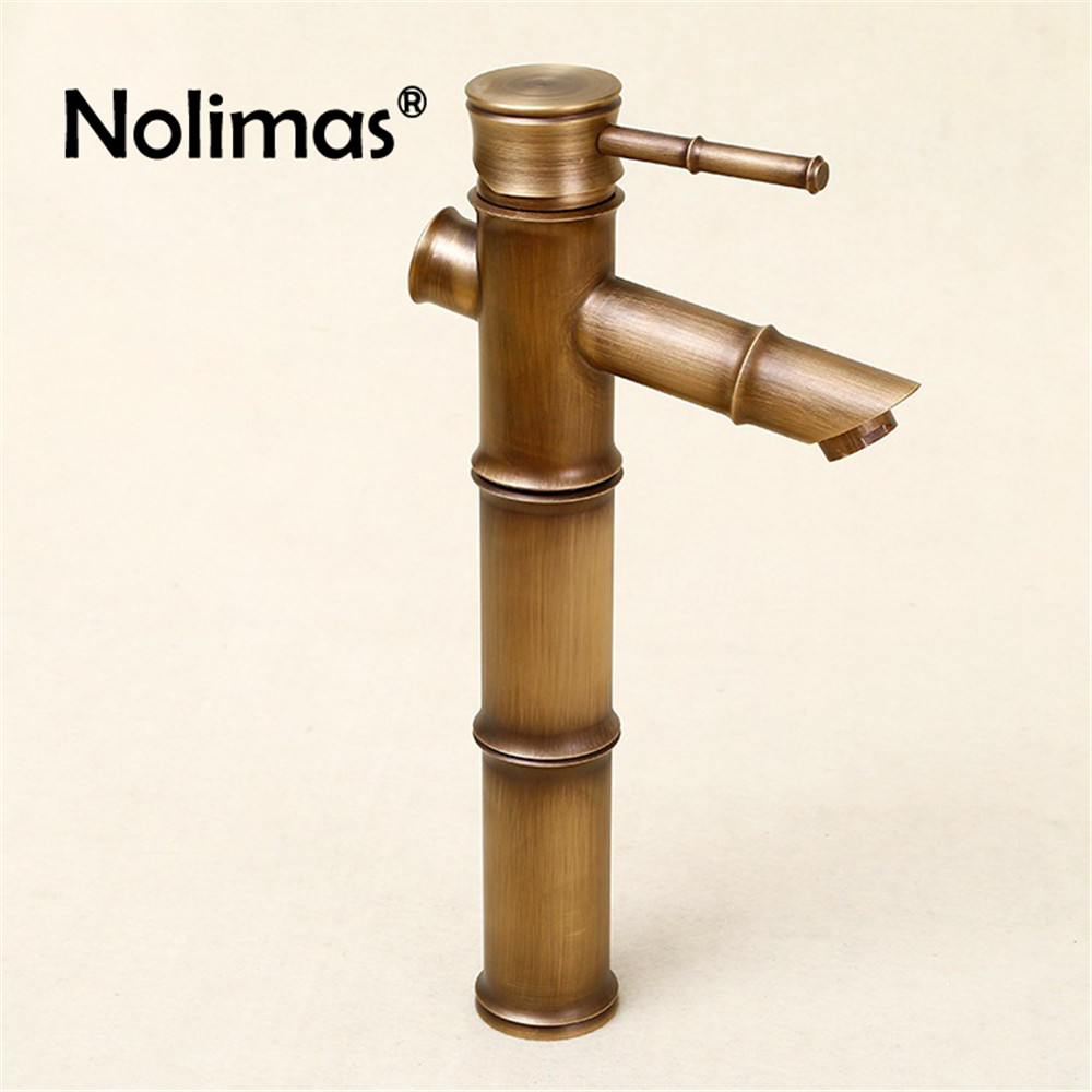 Antique Brass Bathroom Basin Faucets Waterfall Sink Faucet Vessel Tall Bamboo Single Holder Single Hole Water Tap Mixer