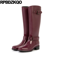 Metal Boots Low Heel Rainboots Fall Knee High Long Cheap Women Round Toe Embellished Rain Slip