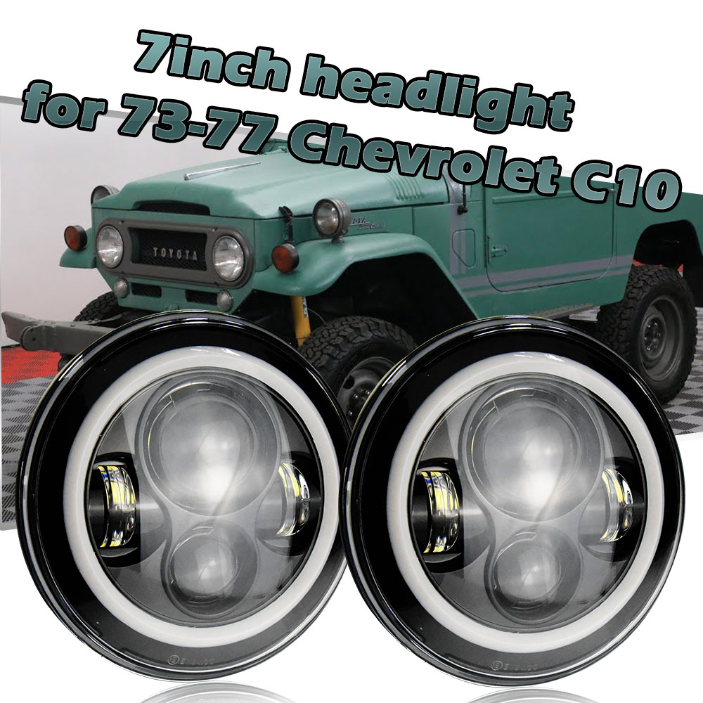 2pcs Led Headlight 7'' Round H4 High Low 6000K 7Inch Led Motor Light 50W for Jeep Harley Lada Niva Toyota UAZ 4x4 Offroad