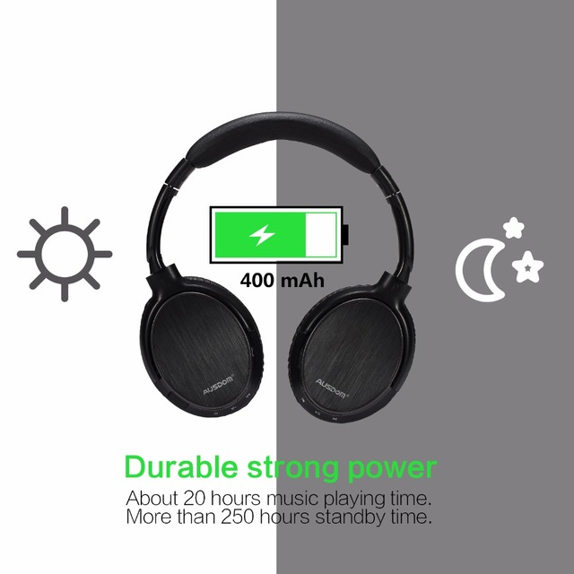 Ausdom M06 Lightweight Wired Wireless Bluetooth Headphones Over Ear Deep Bass Stereo Headset Handsfree Calling Music Headset