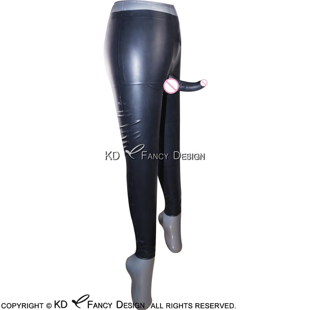Black Long Latex Pants With Anatomical Penis Sheath Rubber Trousers Pants CK 0013