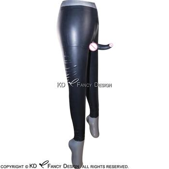 Black Long Latex Pants With Anatomical Penis Sheath Rubber Trousers Pants CK-0013