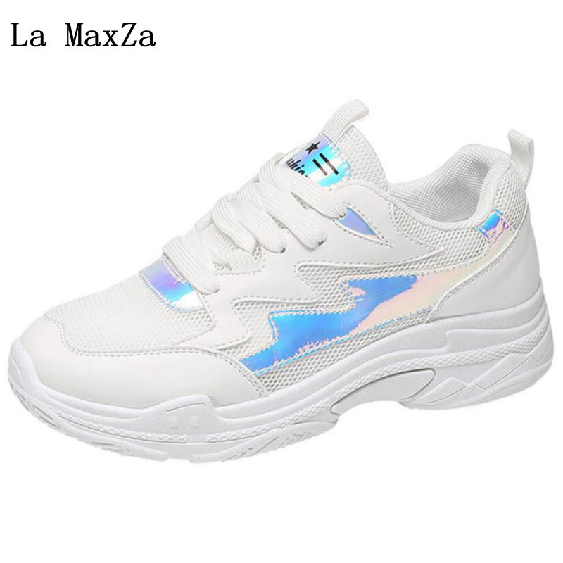Fashion Women Casual Shoes Female Outdoor Walking Shoes Flat Breathable Air Mesh Lace-up Ladies Sneakers 2018 Spring New Arrival