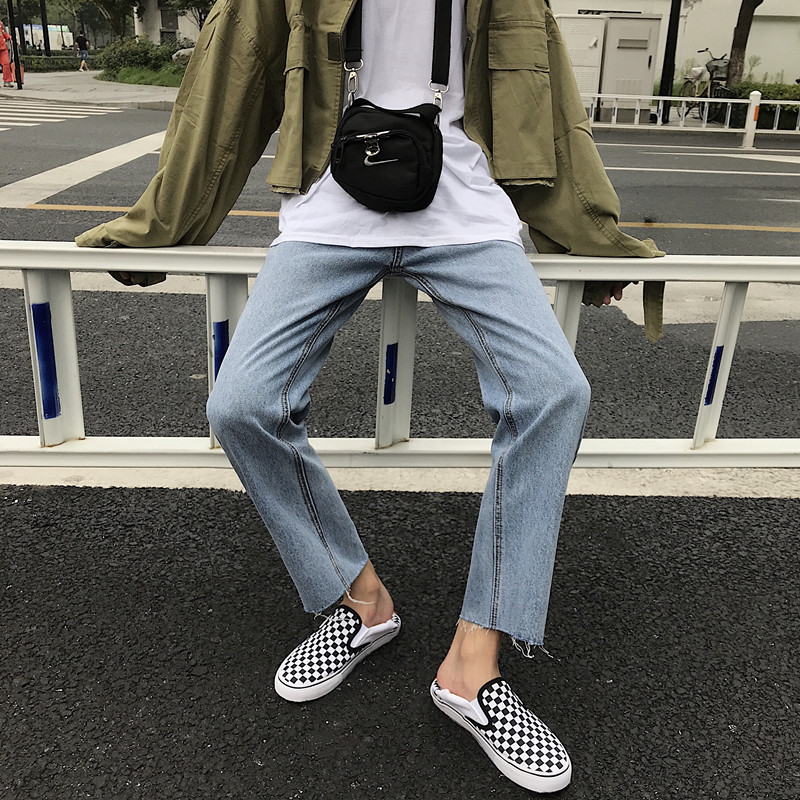 Men's  Loose Jeans Straight Retro Thin Section Slim Feet Denim Nine Pants Personality Tide Men's Streetwear Hip Hop Jeans Men(China)