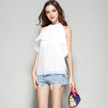 Blusa Chiffon Shirt 2017 Summer Tops Off Shoulder Blouse Sleeveless Stand Ruffles Women Blouses Womens Clothing Chemise Femme